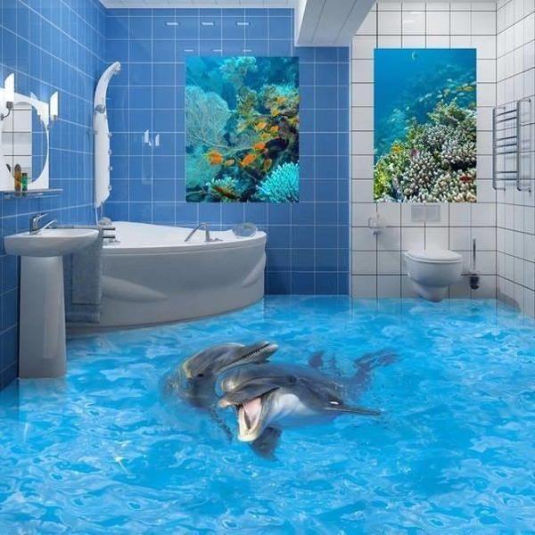 Кафель в ванной комнате с дельфинами