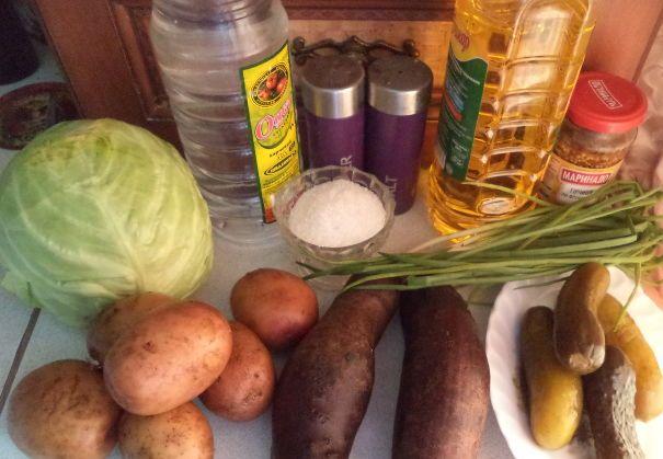 Ингредиенты для винегрета с капустой
