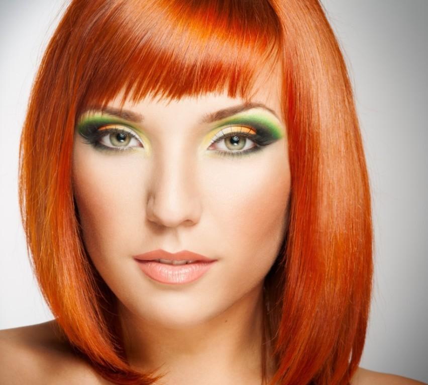 Зеленые тени при рыжем цвете волос