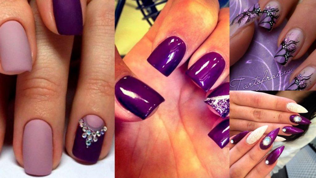 Фиолетовый цвет на ногтях