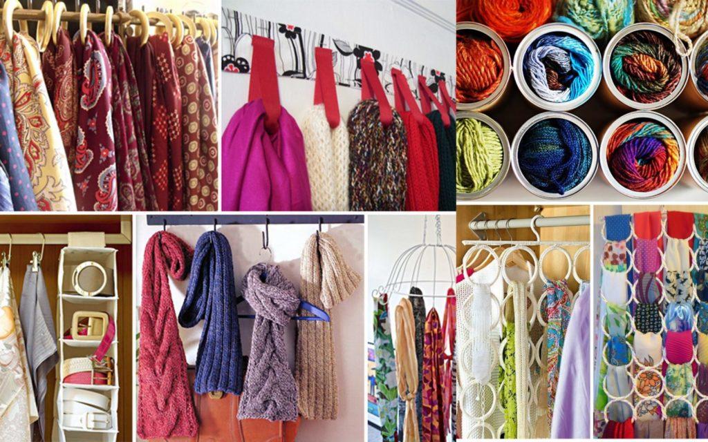 Идеи для хранения шарфов и платков