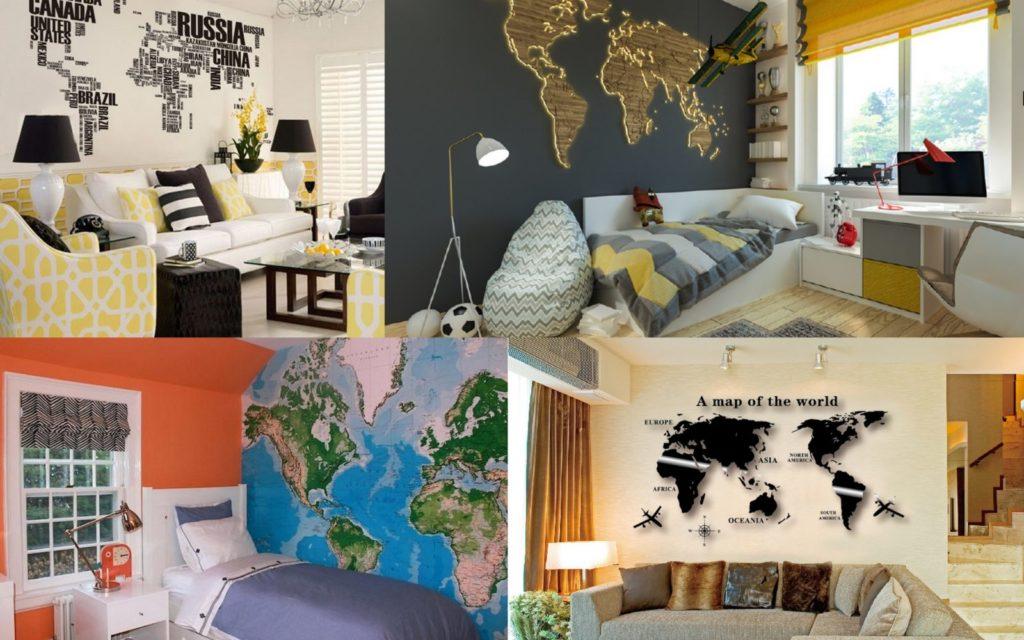 Украшение стен картами мира