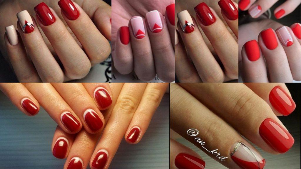 Риснки на красных ногтях