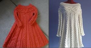 Вязаные на спицах платья