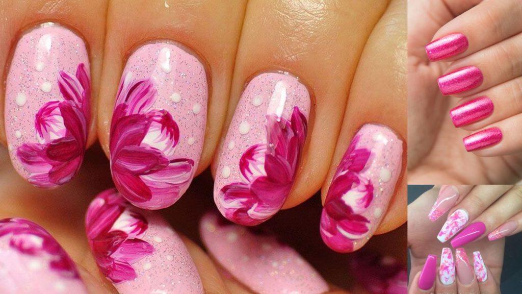 Розовый цвет ногтей