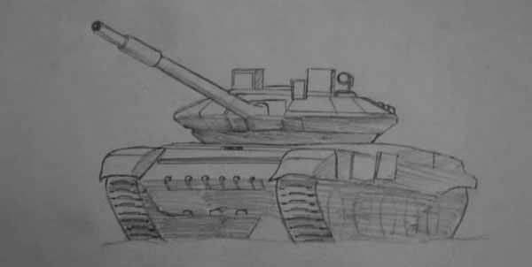 Рисунок танка карандашом