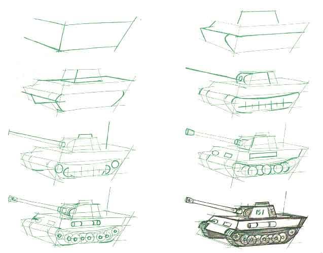 Поэтапная прорисовка танка