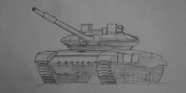 Т-90, рисунок карандашом
