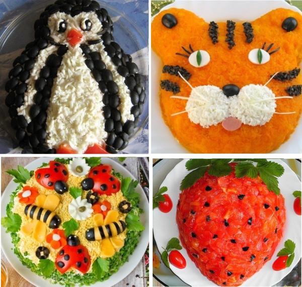 Детские украшения салатов примеры