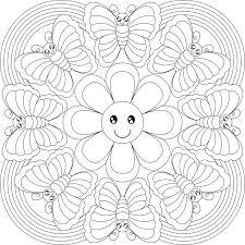 Схема мандалы с бабочками для детей
