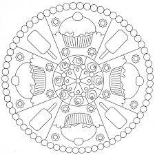 Схема мандалы с пирожными для детей