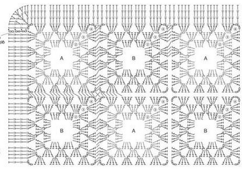 Схема вязания квадратного коврика