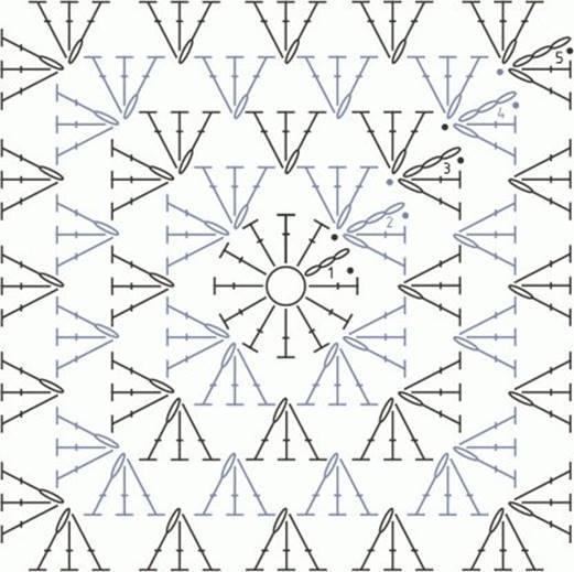 Схема вязки квадрата