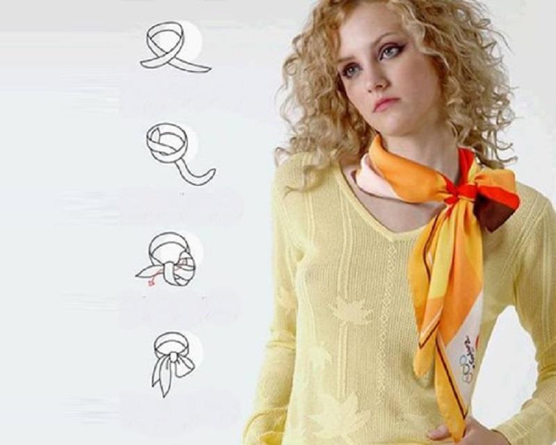 Оранжевый бантик из легкой ткани
