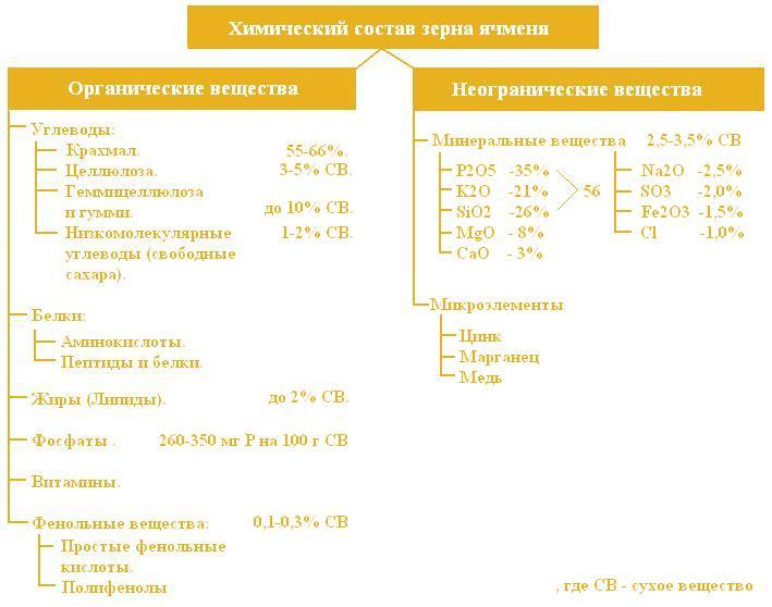 Химический состав ячменя