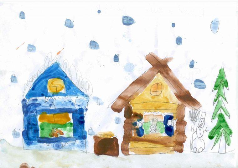 простые домики зимой