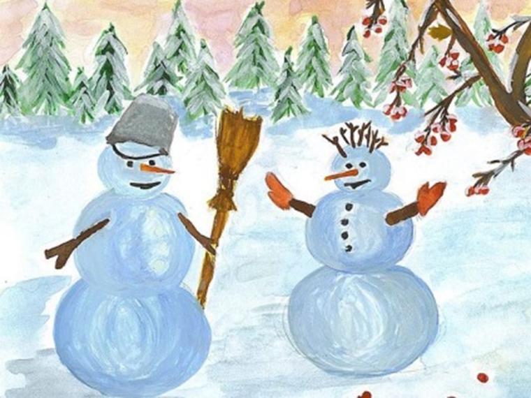 зима, снеговики