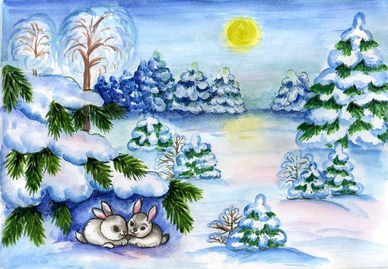 зайчата зимой
