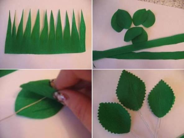 Вырезается необходимое количество листочков и узкая лента для покрытия стебля