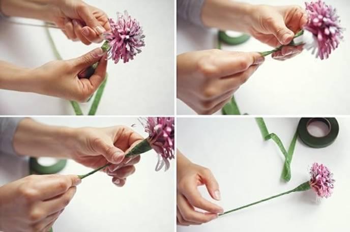 Начиная с основания цветка, проволока и бумажная часть обклеивается узкой зеленой полоской флор-ленты или бумаги по спирали