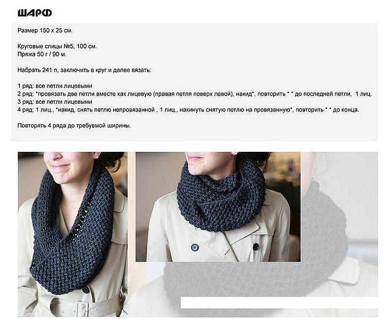 шарф-хомут спицами
