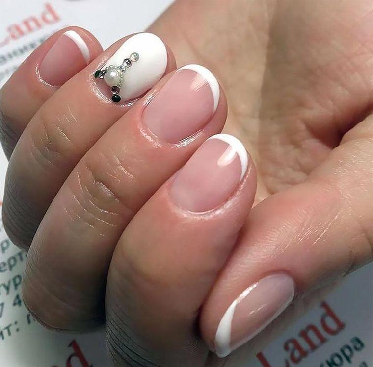 весенний френч на короткие ногти