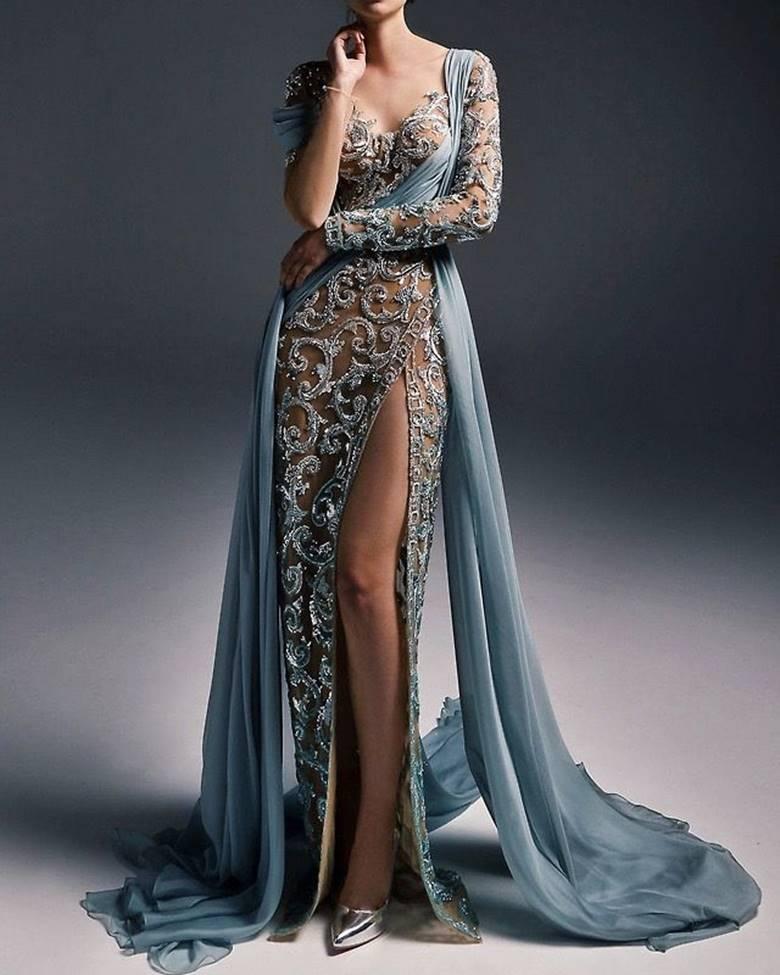 Полупрозрачные ткани на вечернем платье