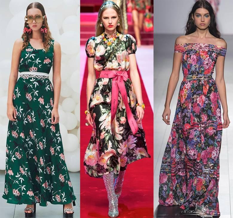 Цветочные принты на платьях